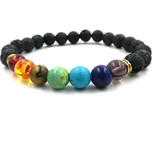 GVUSMIL 7 Chakra Healing Bracelet with Real Stones Volcanic Lava Mala Meditation Bracelet Men's and Women's Stretch Bracelets Protection Energy (Jewelry Protection)