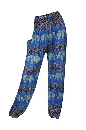 Pantalones harén–ALADDIN pantalones de Hippie con 18Diferentes diseños Elephant 1 Blue