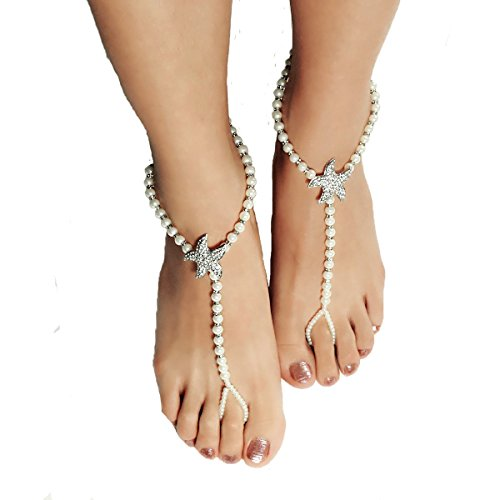 Cougar's Choice® 1 Pair of Starfish Beaded Barefoot Sandals Beach wedding Barefoot Sandal