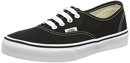Vans Authentic Mens Womens Black White Canvas Skate Trainers, 6 UK