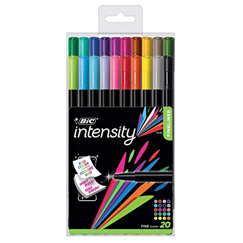 BIC Color Collection by Intensity Fineliner, 0.4mm, Assorted Colors, 20-Count (Target Pens Fineliner)