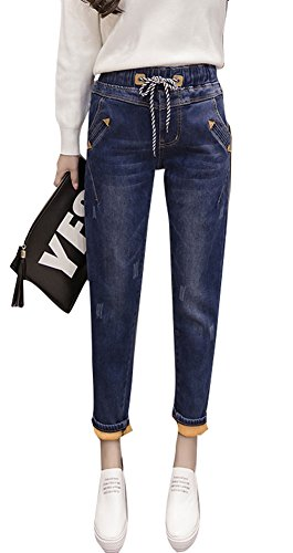 Fleece Relaxed Fit Jeans (Plaid&Plain Women's Juniors Winter Relaxed Fit Elastic Waist Fleece Denim Jeans Blue-Fleece L)