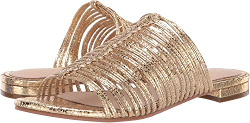 Cecelia New York Women's Sienna Sandal, Gold Met, 8 Medium ()