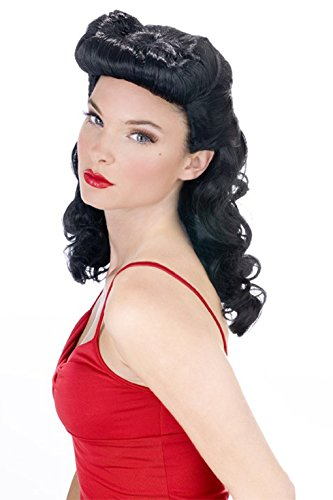 [Adult Black Burlesque Beauty Wig - Pin Up] (Pin Up Wig)