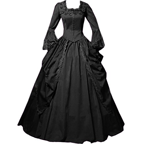 I-Youth Womens Lace Marie Antoinette Masked Ball Victorian Costume Dress (S, Black) -
