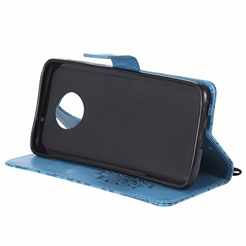 LEMORRY Handyhülle Motorola Moto G6 Plus (2018) Hülle Ledertasche Beutel Haut Magnetisch Bumper Stehen SchutzHülle Kartenfächer Weich Silikon Flip Cover Schale für Moto G6 Plus 2018, Blühen (Blau) Blau