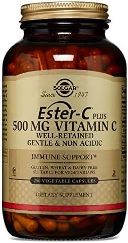 Solgar Ester-C® Plus 500 mg Vitamin C, Immune Support, Well-Retained, Gentle & Non Acidic, Non-GMO, Suitable for Vegans, 250 Vegetable Capsules