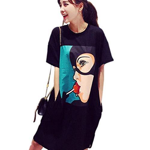Womens t Shirt Dresses Knee Length Fashion Lolipop Mori Girl Print Summer Plus Size Dress Casual O-Neck Black -