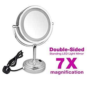 Oxford Steet High Quality LED lighted Magnifying Mirrors, LED Stand Double Side Mirrors, 8.5 inches cosmetic doubles sides make up mirror shaving bathroom mirror foldable and height-adjustable (7x Magnification), [Importado de UK]