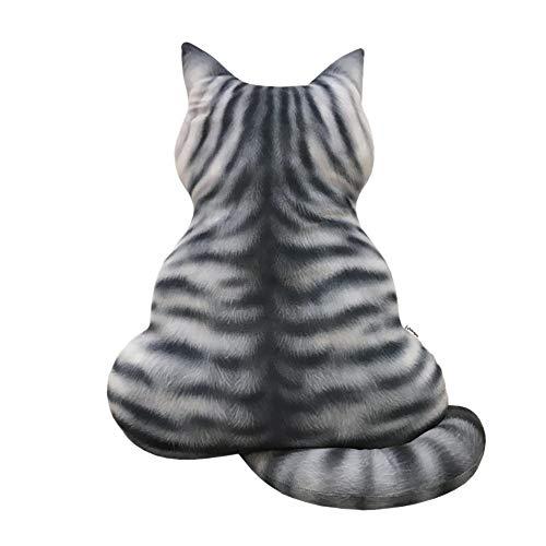 Maikouhai 3D Printed Cat Back Cushion Stuffed Plush Toy Gift Simulation Cat Kids Dolls Toys for Car Seat Chair Back Cushion, Sofa Bed Pillow Decor, 43x35cm (B)