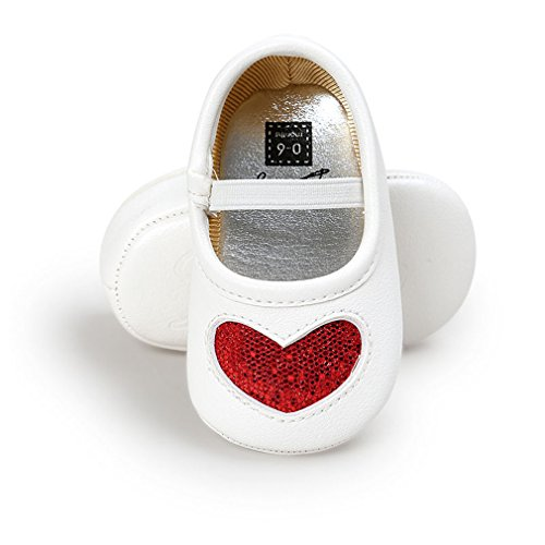 Baby Girl Crib Shoes Anti-Slip Sneaker Heart-Shaped Sequins Print Shoes 0-18M Red 13-18 Months