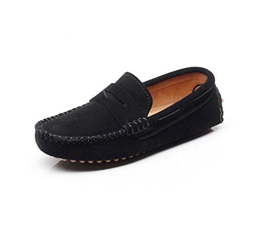 Shenn Boys' Cute Slip-On Black Suede Leather Loafers Shoes S8884 US13
