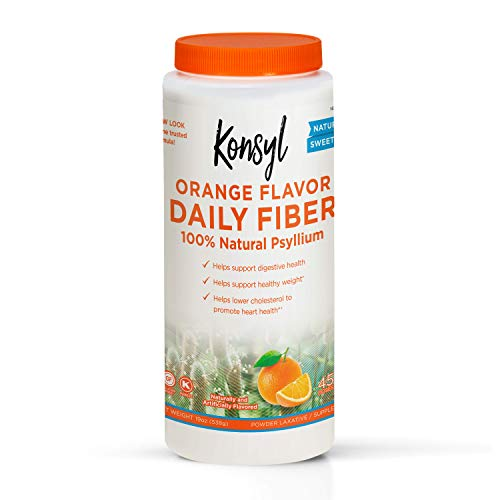 Konsyl Daily Fiber Orange - 100% Natural Psyllium Husk Powder - Naturally Sweetened - Gluten Fr ()
