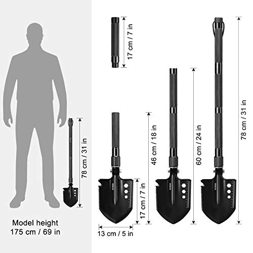 ENKEEO Military Folding Shovel Multitool for Scout, Hiking, Backpacking, Adventure Cycling, Dry Camping, Trenching, Emergency and Survival by ENKEEO (Image #5)