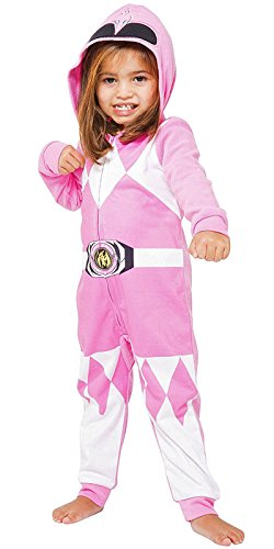 INTIMO Mighty Morphin Power Rangers Kids Critter Hooded Pajamas (Pink, -
