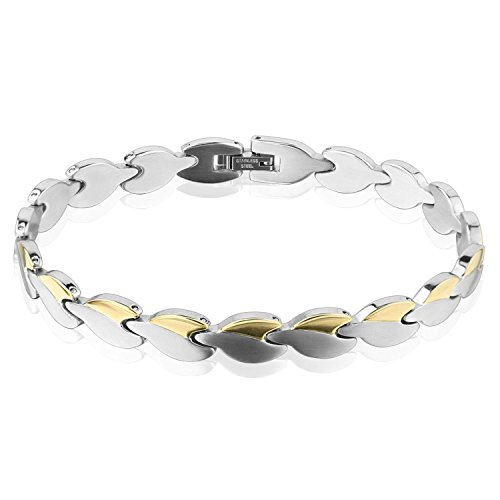 - Two Tone Heart Chain Gold IP Stainless Steel Bracelet