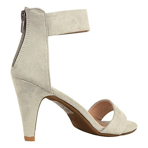 Grey Heels Shoe - Womens Classic Comfort Sexy Open Toe Mid Heel Ankle Strap Dress Stiletto Heeled-Sandals, Grey Suede, 9