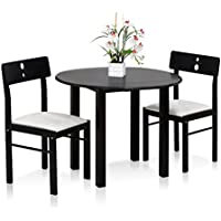FURINNO Cos-Drop Leaf 3-PC Solid Wood Dining Set, FKCD075-3, Espresso