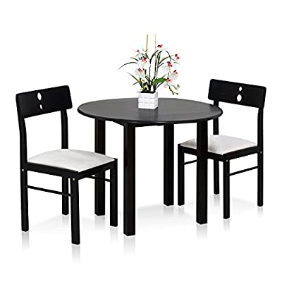 Furinno FKCD075-3 Cos-Drop Leaf Dining Set - Drop leaf table saves spaces and suitable for smaller rooms. Set includes one drop leaf table and two chairs. All frames manufactured from solid rubber wood. Table Top and chair Back Rest made of MDF Board. Fits in your space, fits on your budget. - kitchen-dining-room-furniture, kitchen-dining-room, dining-sets - 41U0xdTwuZL. SS400  -