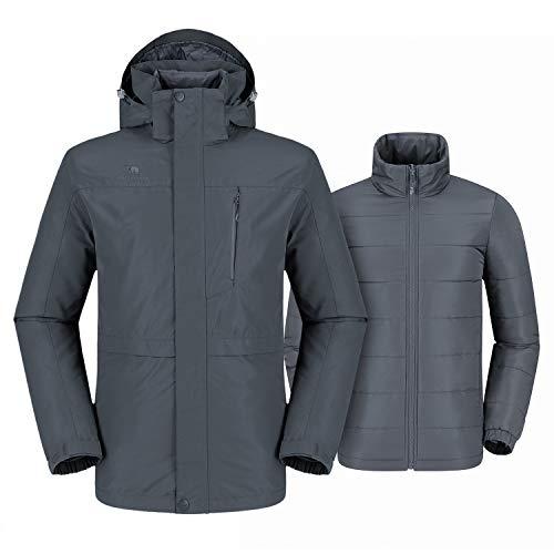 CAMEL CROWN Men's 3-in-1 Waterproof Ski Jacket Winter Jacket Set with Windproof Puffer Liner Snow Coat M Grey ()