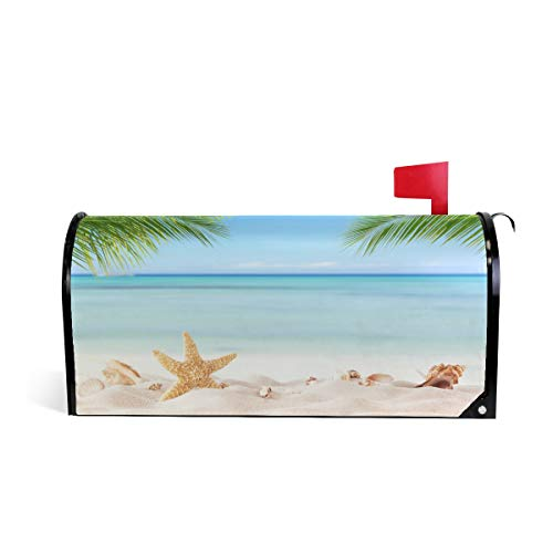 - MOFEIYUE Beach Starfish Palm Tree Magnetic Mailbox Cover for Home Garden Yard Deco Makeover Mail Wrap