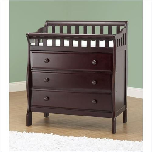 Metal Sleigh Crib (Orbelle Trading Changing Station with 3 Drawers, Espresso)