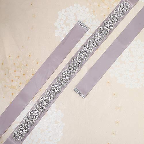 Wedding sash Bridal Belts with Shining Rhinestones Applique Sliver of Simple Classic Silk Champagne (Belt Silk Beaded)