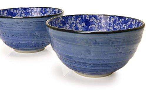 Spiceberry Home Porcelain Bowls 5.5-Inch Blue with Blue Nochigo Design, Set Of - Stoneware Japanese