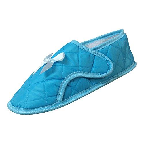 Womens Edema Slipper for Swollen or Bandaged Feet - Teal q3UkeBNao