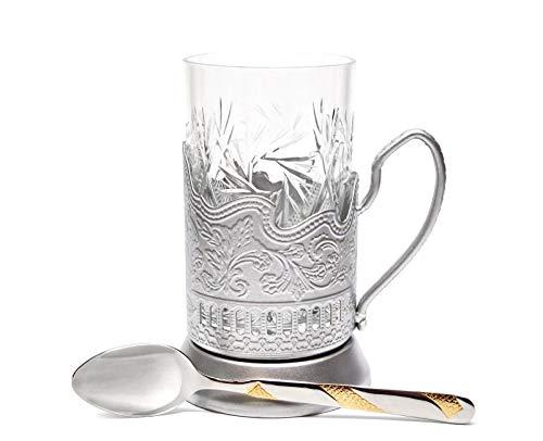 Beverage Hot 1 (SILVER Combination of 1 Russian Old-Fashioned CUT Crystal Hot Tea Glass 8.5 Oz & Handmade Metal Glass Holder Podstakannik w/ Gold-plated Teaspoon, Vintage Hot or Cold beverage drinking SET)
