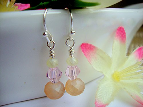 Matte Bicone - Pink Crystal Bicone Matte Mauve Peach Silver Dangle Earrings