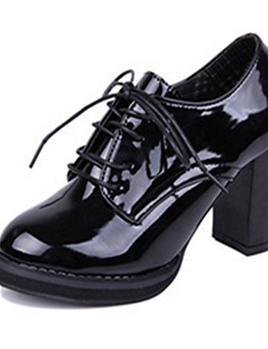 ZQ Zapatos de mujer-Tac¨®n Robusto-Tacones-Tacones-Casual-Cuero Patentado-Negro / Bermell¨®n , black-us8 / eu39 / uk6 / cn39 , black-us8 / eu39 / uk6 / cn39 burgundy-us6 / eu36 / uk4 / cn36