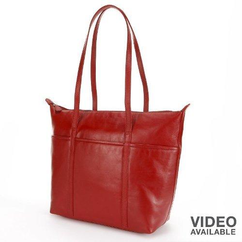 ili Leather Tote Handbag (Red)
