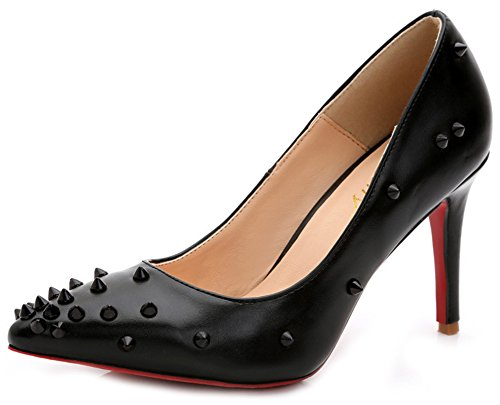 Shoes Rivets High Aisun Stiletto Heels Court Women's On Pointed Slip Top Burnished Low Black Toe wRaxqF