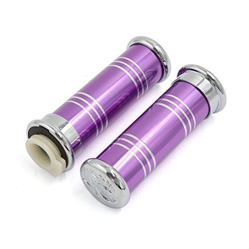 eDealMax Violet en alliage d'aluminium 7/8 pouces Poignes de guidon  la main pour moto paire Scooter