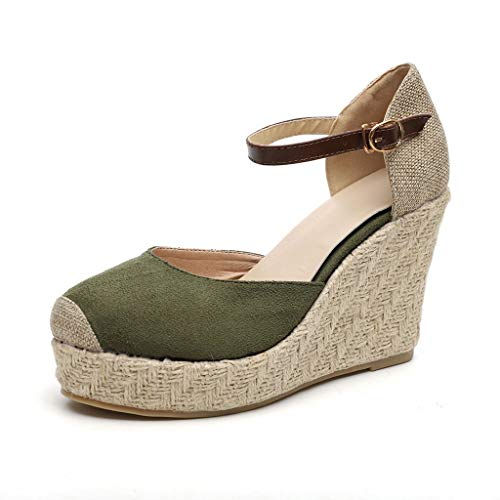 JJLIKER Women Chunky Platform Wedges Sandals Closed Toe Ankle Buckle Strap Shoes Espadrille Non-Slip Classic Pumps Green ()
