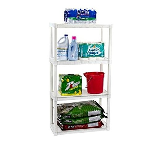Plano 4-Shelf Solid Shelving Unit, White 924400