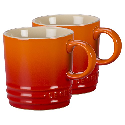 Le Creuset Flame Stoneware Petite 3.5 Ounce Espresso Mug, Set of 2