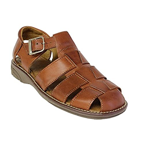 bb5aef00be76 on sale Men s 340 Rustic Cognac All Real Leather Mexican Buckle Huaraches  Closed Toe