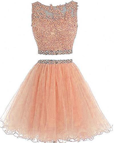 Dydsz Women's Prom Dress Short Homecoming Party Dresses Juniors 2 Piece Beaded A Line D127 Coral 8