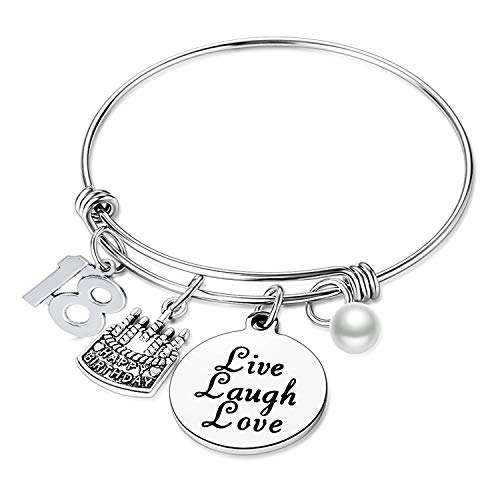 Nimteve Birthday Gifts for Her Expandable Bangle Birthday Bracelets for Women Charm Bracelet Happy Birthday Jewelry Gift Ideas (18th Birthday)