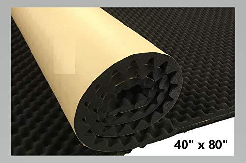 """BookishBunny Self Adhesive Acoustic Foam Egg Crate Panel Studio Foam Wall Panel (40"""" x 80"""")"""