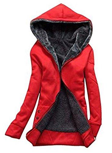 Top Bolsillo Joven Jacket Con Tayaho Larga Manga Cálido Outwear Cómodo Rojo Clasicos Color Chaquetas Sencillos Chaquetas Capucha Mujer Universidad SÓLido Con Abrigos xZHwFqAZ