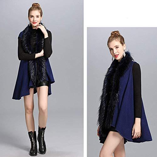 Adelina Chaqueta Piel Día Abrigos Chaleco Abierto Fashion Mujer Exquisito Relaxed Blau Chalecos De Sintética Largos Elegantes Retro Sleeveless Invierno Otoño Casuales BzBfrqw
