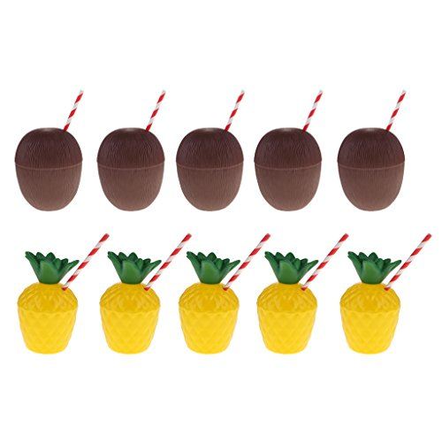 Flameer 10 Pieces Pineapple Cup + Cocktail Cups with Straw Plastic Juice Drink Cups Hawaiian Luau Party Favors Supplies Decoration ()