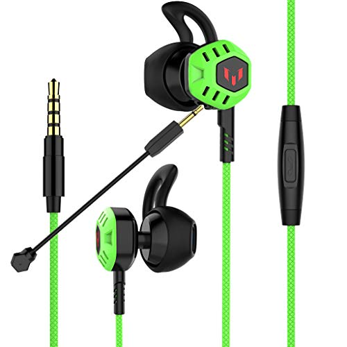 Gaming Earbuds,Headphones with Adjustable Mic Wired in-Ear Headphones E-Sport Earphones for Nintendo Switch PS4, PC, Laptop, Cellphone with 3.5mm Jack(G100,Green)
