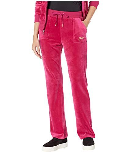 Juicy Couture Women's Foil Logo Pocket Bootcut Velour Raspberry Pink Large ()