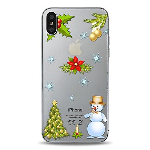 Christmas Funda iPhone X, FindaGift Navidad Series Phone Case Ultra Delgado Suave TPU Resistente a los arañazos del Teléfono Shell para iPhone X (Pattern 1) Pattern 4