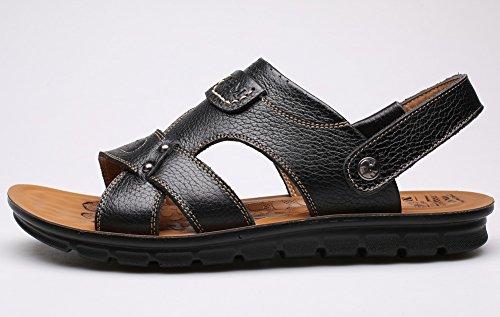 Vocni Heren Open Teen Casual Lederen Comfortabele Schoenen Sandalen Heren Sandalen Zwart