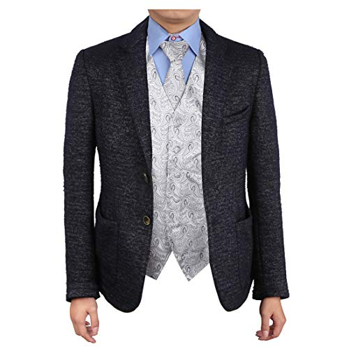 Epoint EGD1B08E-XL Grey Patterns Vest Microfiber Dress Tuxedo Vest Neck Tie Set Possibly Accessories